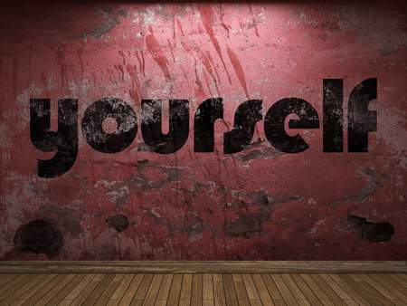yourself: yourself word on red wall