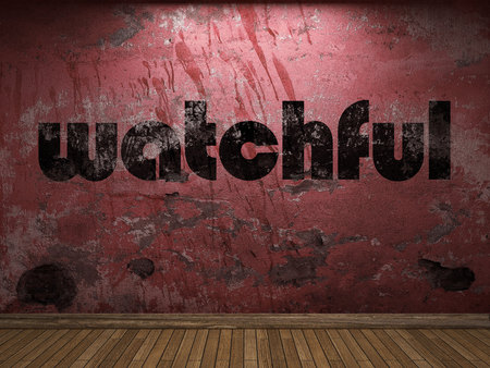 watchful: watchful word on red wall Stock Photo