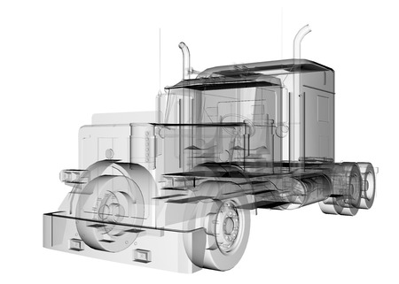 semitransparent: isolated transparent lorry truck