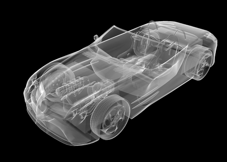 axle: transparent sport car isolated Stock Photo