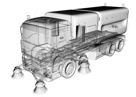 recolector de basura: carro aislado de limpieza transparente Foto de archivo