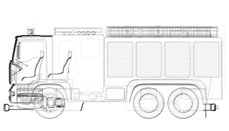 isoladed: isoladed transparent fire truck Stock Photo