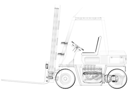 counterbalanced: isolated transparent forklift truck