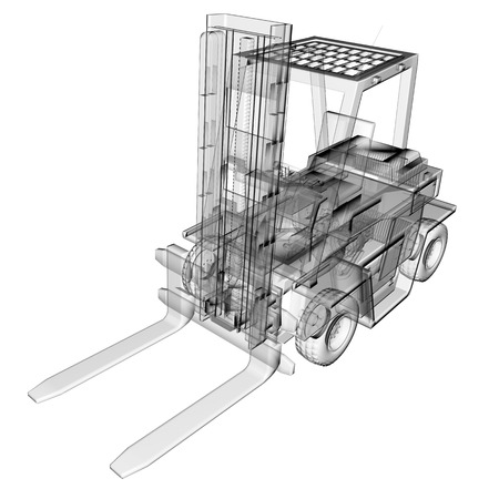 flexi: isolated transparent forklift truck