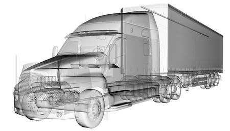 truck trailer: transparent American Truck Trailer Stock Photo