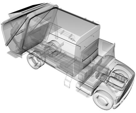 environmental sanitation: isolated transparent clean truck Stock Photo