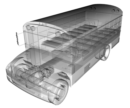 flashers: transparent isolated school bus