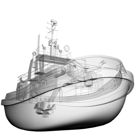 fishing vessel: isolated transparent fishing boat Stock Photo