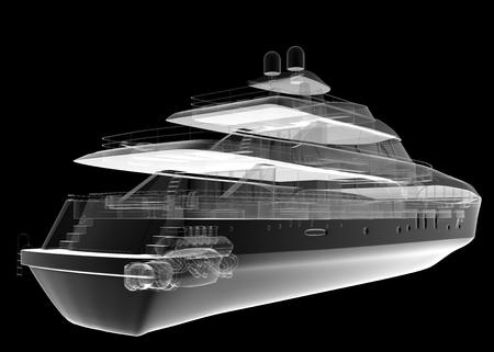 isolated transparent luxury yacht