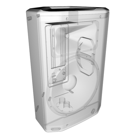 party system: isolated transparent music speaker Stock Photo