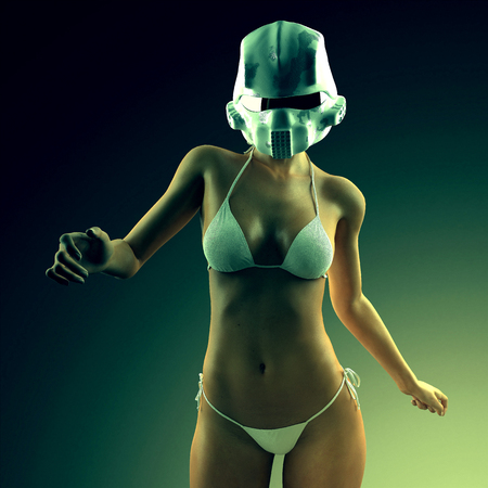 curvaceous: Beautiful young woman with futuristic helmet and bikini