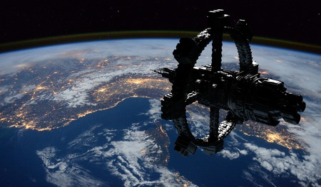 Space Station Orbiting Earth. Stock Photo