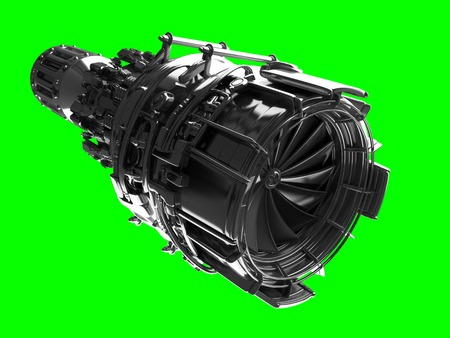 Jet engine turbine blades of plane, aircraft concept, aviation and aerospace industry, isolated