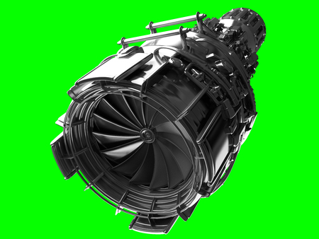 aerospace industry: Jet engine turbine blades of plane, aircraft concept, aviation and aerospace industry, isolated