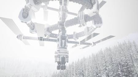 alien ufo at Earth in mountains with pines and snow Stock Photo