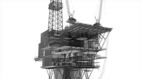 loop rotate oil and gas central processing platform transparent model