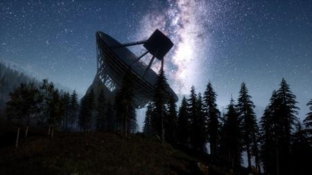Observatorio astronómico bajo las estrellas del cielo nocturno. hiperlapso