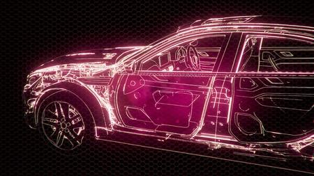 Animación holográfica del modelo de coche de estructura metálica 3D con motor y piezas técnicas de nutria. Foto de archivo