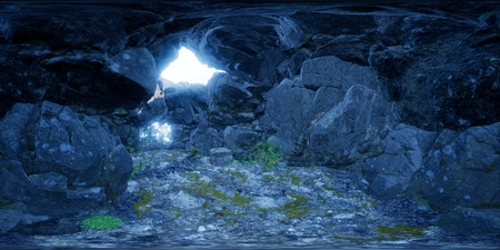 vr 360 camera inside tropical cave in jungle with palms and sun light. ready for use in virtual reality