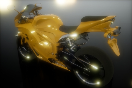 moto sport bike in dark studio with bright lights Stock Photo