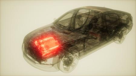 car engine visible in transparent car Stok Fotoğraf