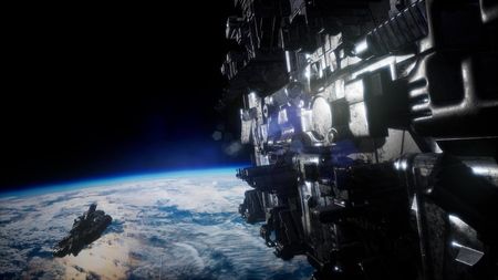 flying an animated space station. 3d rendering