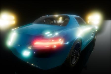 luxury sport car in dark studio with bright lights Stock Photo