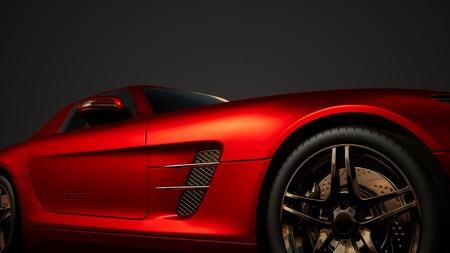 luxe sportwagen in donkere studio met felle lichten Stockfoto