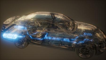 système d'échappement de voiture visible dans une voiture transparente