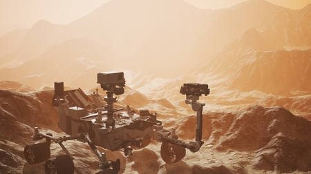 Curiosity Mars exploring the surface of red planet Stock Photo