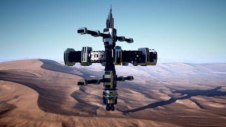 alien spaceship rotate over desert. ufo landscape. ufo