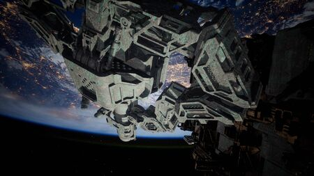 fleet of massive spaceships known as mother ships taking position over Earth for a coming invasion. Stockfoto