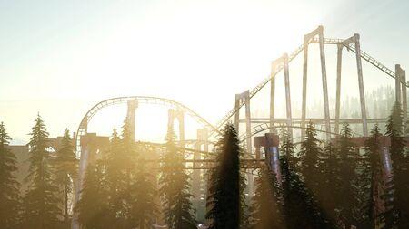 oude achtbaan bij zonsondergang in bos