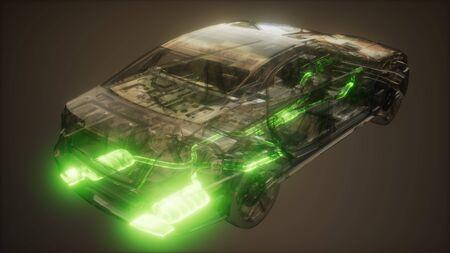 système d'échappement de voiture visible dans une voiture transparente Banque d'images