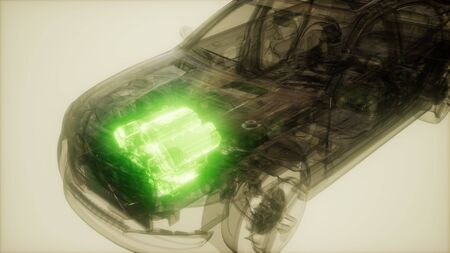 car engine visible in transparent car Stock Photo