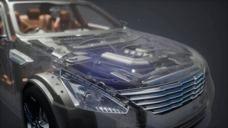 engine and other parts visible in car