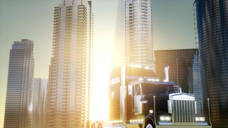 lorry truck and skyscrapers at sunset