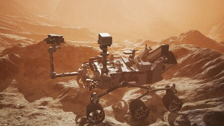 Curiosity Mars Rover exploring the surface of red planet