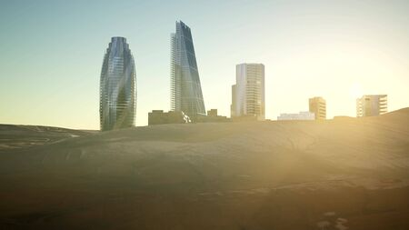 city skyscrapes in desert at sunset