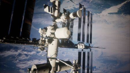 A view of the Earth and a spaceship. International space station is orbiting the Earth Фото со стока