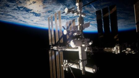 Earth and outer space station.