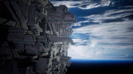 Alien UFO near Earth, like spaceship armada, for futuristic, fantasy or interstellar deep space travel backgrounds.
