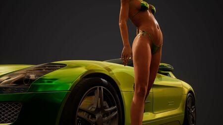 Young sexy woman posing in bikini by metallic sport car