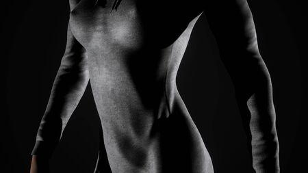 Donna sexy e attraverso l'elegante felpa con cappuccio