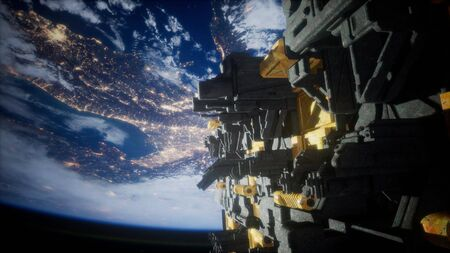 spaceship with view on space and planet Earth 3D rendering