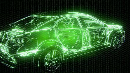 Animation holographique d'un modèle de voiture filaire 3D avec des pièces techniques de moteur et de loutre