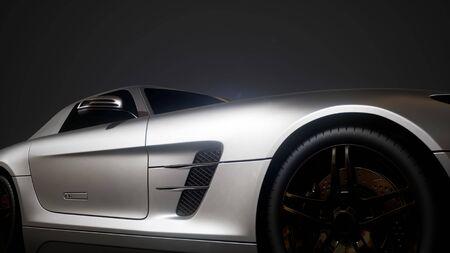 voiture de sport de luxe dans un studio sombre avec des lumières vives
