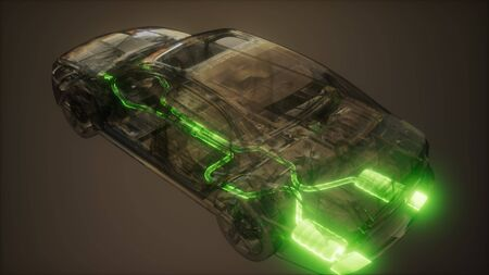 car exhaust system visible in transparent car