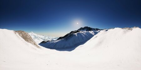 VR 360 camera on the tops of the mountains on a sunny day. vr360 virtual reality 写真素材