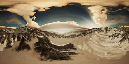 rays of sunset on the tops of the mountains on a sunny day. vr360 virtual reality 写真素材